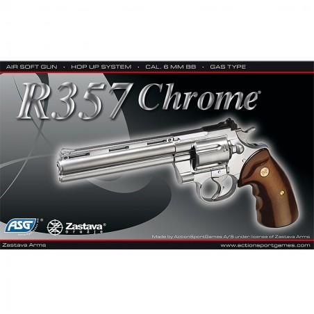 Réplique de poing, gaz culasse fixe, R-357, chromé