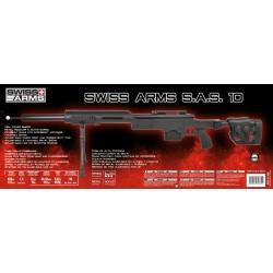 Swiss Arms SAS 10 NOIR avec bipieds chargeur 0,2 BB's