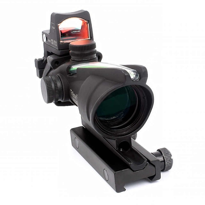 4x32 ACOG style fiber scope with mini red dot sight